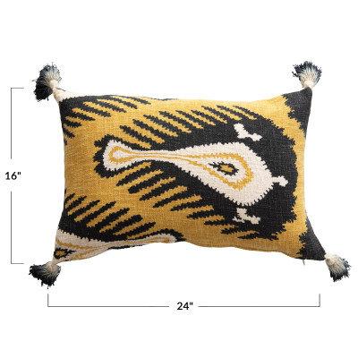 Dip Dyed Tassels Black & Mustard Cotton Print Pillow