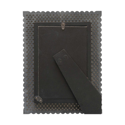 """Hand-Carved Resin Photo Frame with Cut-Outs, Black (Holds 4"""" x 6"""" Photo)"""