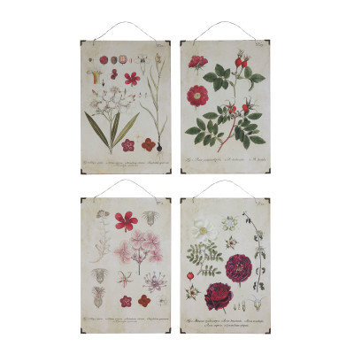 4 Floral Wood Wall Decor