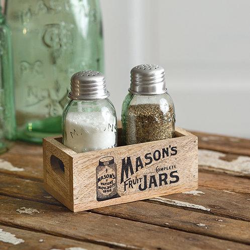 Mason's Jars Wooden Salt & Pepper Caddy - Box of 2