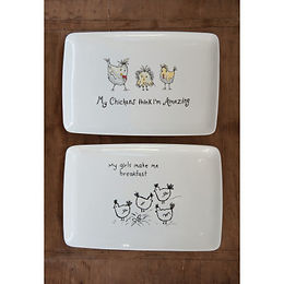 """My Chickens Think I'm Amazing"" Rectangle White Stoneware Platter"