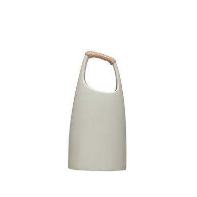 """13.25""""H Stoneware Vase with Rattan Wrapped Top Handle"""