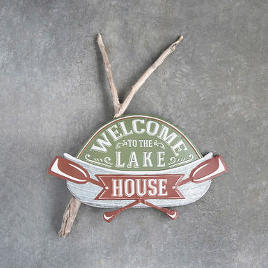 """Embossed Metal Wall Decor """"Welcome to the Lake House"""", Multi Color"""