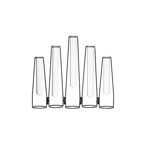 """5 Glass Test Tube Vases in 13"""" Long Foldable Black Metal Frame"""