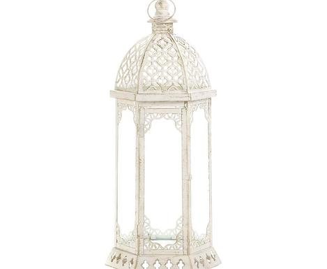Graceful Distressed White Lantern (L)