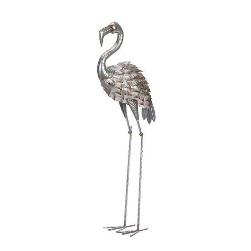 Galvanized Flamingo Statue