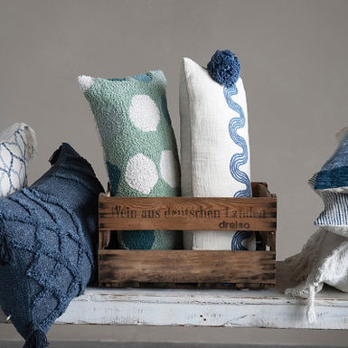 Cotton Lumbar Pillow w/ Embroidered Curved Pattern & Tassels, Cream Color & Blue