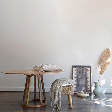 Hand-Woven Seagrass Stool with Wood Legs, Natural