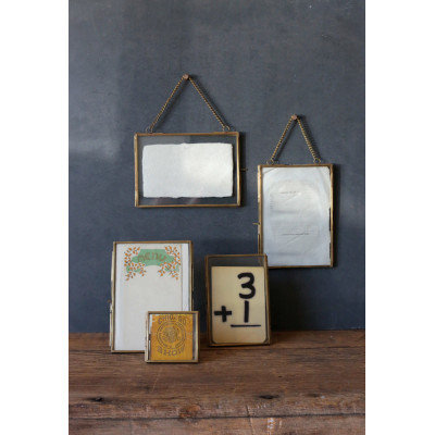 """Brass & Glass Frames for 5"""" x 7"""" Photos with Chains (Set of 2 Styles)"""