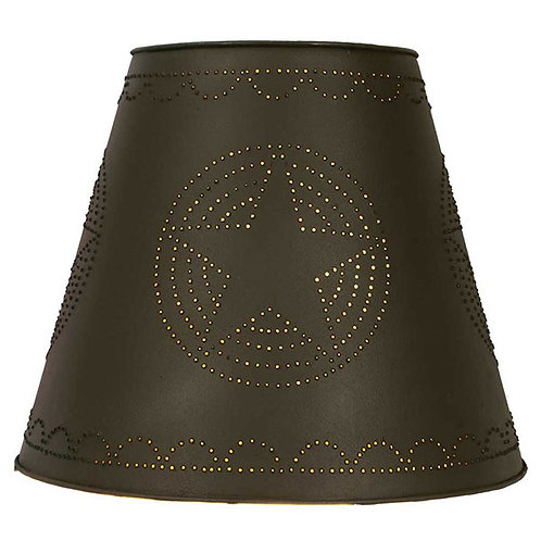8X15X12 Star Tin Washer Top Lamp Shade - Rustic Brown