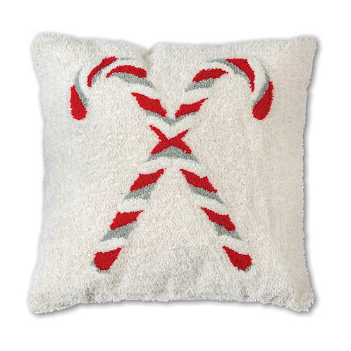 Candy Canes Hooked Cotton Pillow