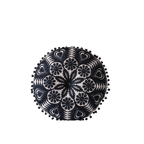 Black Round Cotton Chambray Pillow with Pom Poms