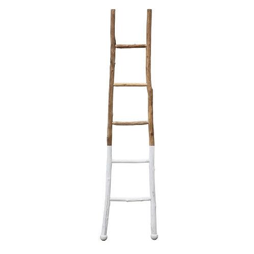 "18""L x 72-1/2""H Decorative Wood Ladder, White Dipped"