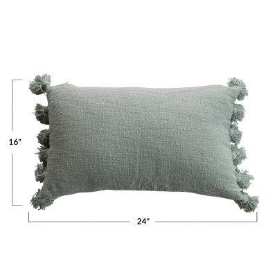 Lumbar Aqua w/Tassels Cotton Slub Pillow