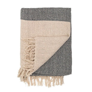 Grey & Cream Cotton Knit Throw with Fringe