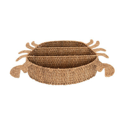 Hand-Woven Bankuan Crab Wall Shelf with 3 Compartments, Natural