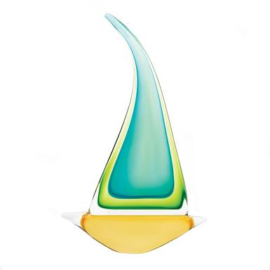 Green Sailboat Art Glass