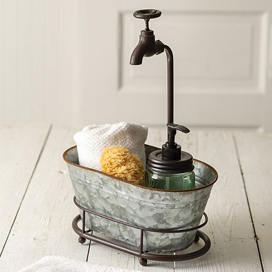 Galvanized Oval Container with Faucet