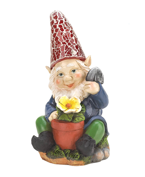 Gardening Gnome Solar Garden Statue