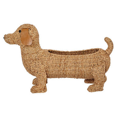 """26""""L Handwoven Bankuan Dog-Shaped Basket with Leather Ears"""