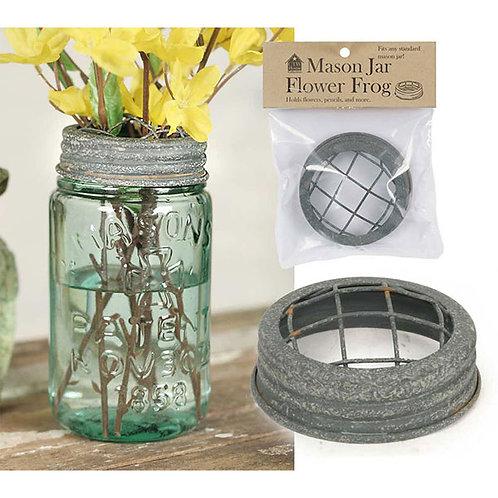 Mason Jar Flower Frog Lid - Barn Roof - Box of 6