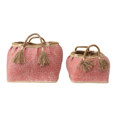 Hand-Woven Seagrass Baskets with Handles, Coral Color, Set of 2