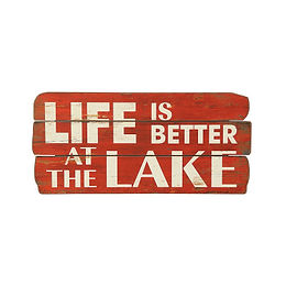 """Life is Better at the Lake"" Red & White Distressed Wood Wall Decor"