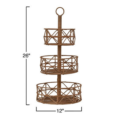 Brown Rattan 3-Tier Tray