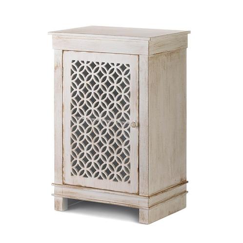 Geometric Cutwork Distressed White Cabinet
