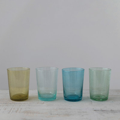 "3"" Round x 4-1/4""H 12 oz. Bubble Glass Drinking Glass, 4 Colors"