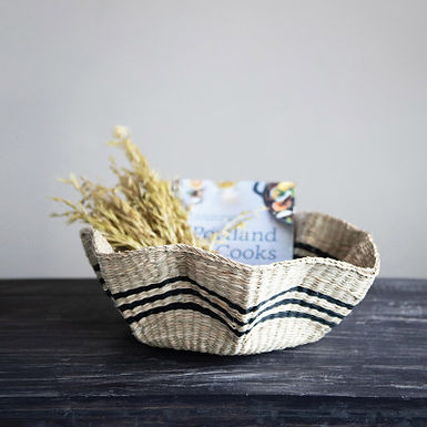 Hand-Woven Scalloped Seagrass Basket with Black Stripes