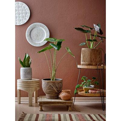 "8"" Round x 3""H Handmade Decorative Engraved Terra-cotta Bowl"