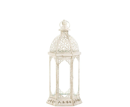 Graceful Distressed White Lantern (S)