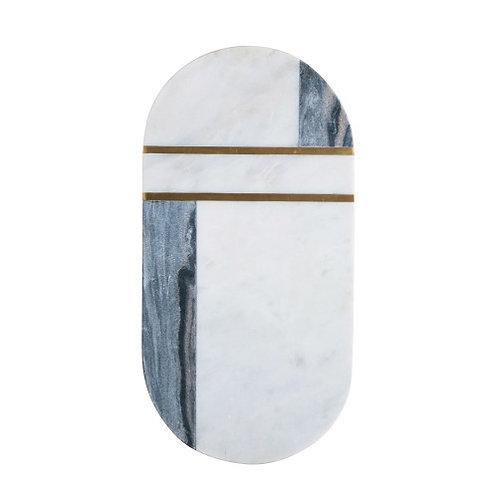 Grey & White Marble & Brass Cutting Board/Tray