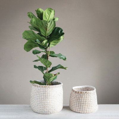 Hand-Woven Seagrass & Paper Baskets with Pattern, Natural & White, Set of 2
