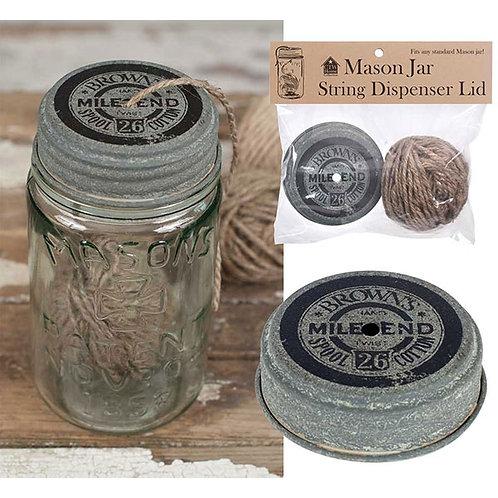 Mile End Mason Jar String Dispenser Lid With String - Box of 6