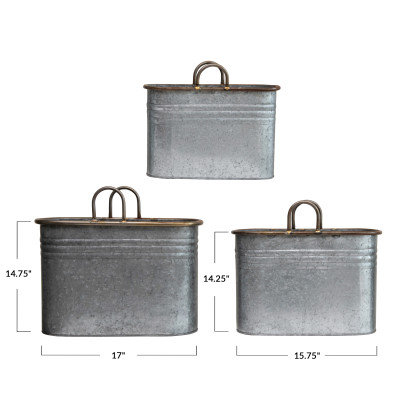 Decorative Galvanized Metal Containers with Handles, Set of 3
