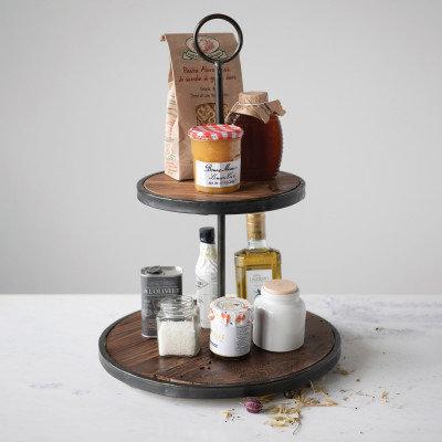 Decorative Wood & Metal 2-Tier Tray