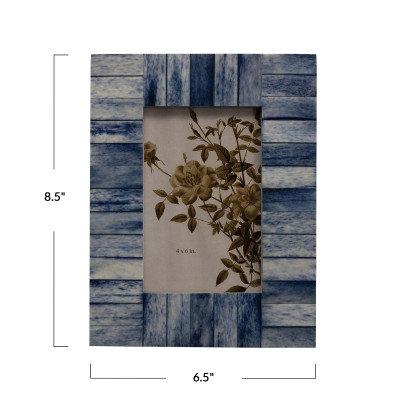 6.5 in x 8.5 in  Wood and Bone Blue Photo Frame