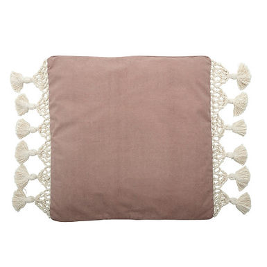 """26"""" Square Cotton Woven Canvas Pillow with Macrame Trim & Tassel Ends"""