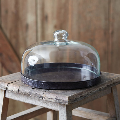 Glass Cloche with Base - Black