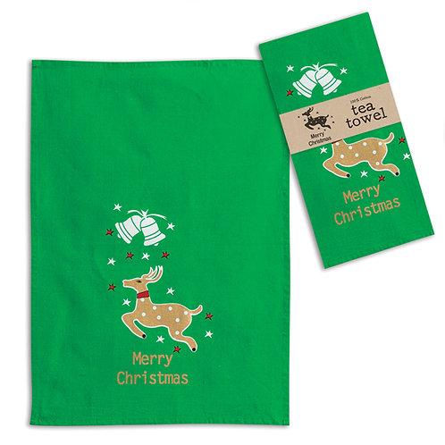 Merry Christmas Reindeer Tea Towel - Box of 4