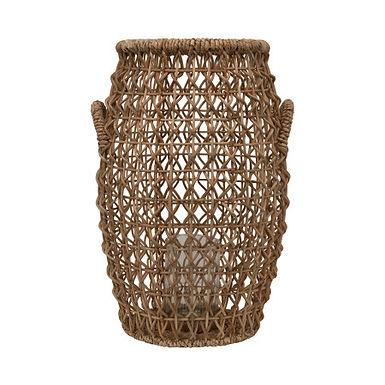 Brown Rattan & Water Hyacinth Lantern with Glass Insert