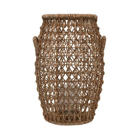 Brown Rattan & Water Hyacinth Lantern with Glass Insert