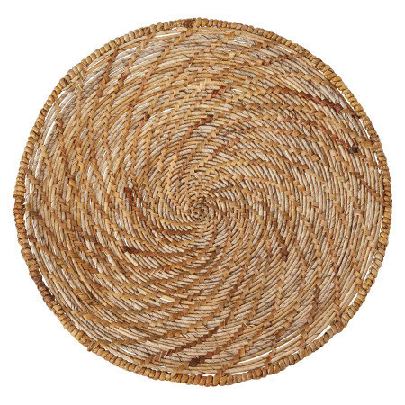 "24.75"" Round Handwoven Banana Bark & Water Hyacinth Basket Wall Decor"