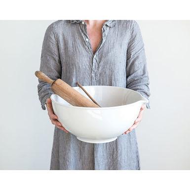 Antique White Vintage Reproduction Stoneware Batter Bowl