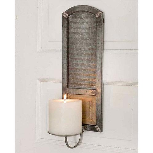 Metal Washboard Pillar Candle Sconce
