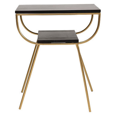 """19.5""""L Rectangle Mango Wood Accent Table with Metal Frame & Wood Shelf"""