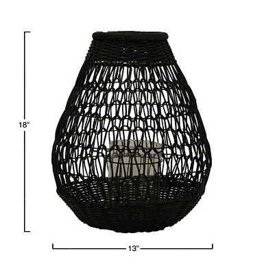 Black Rattan Lantern with Glass Insert