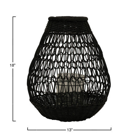 Black Rattan Lantern with Glass Insert